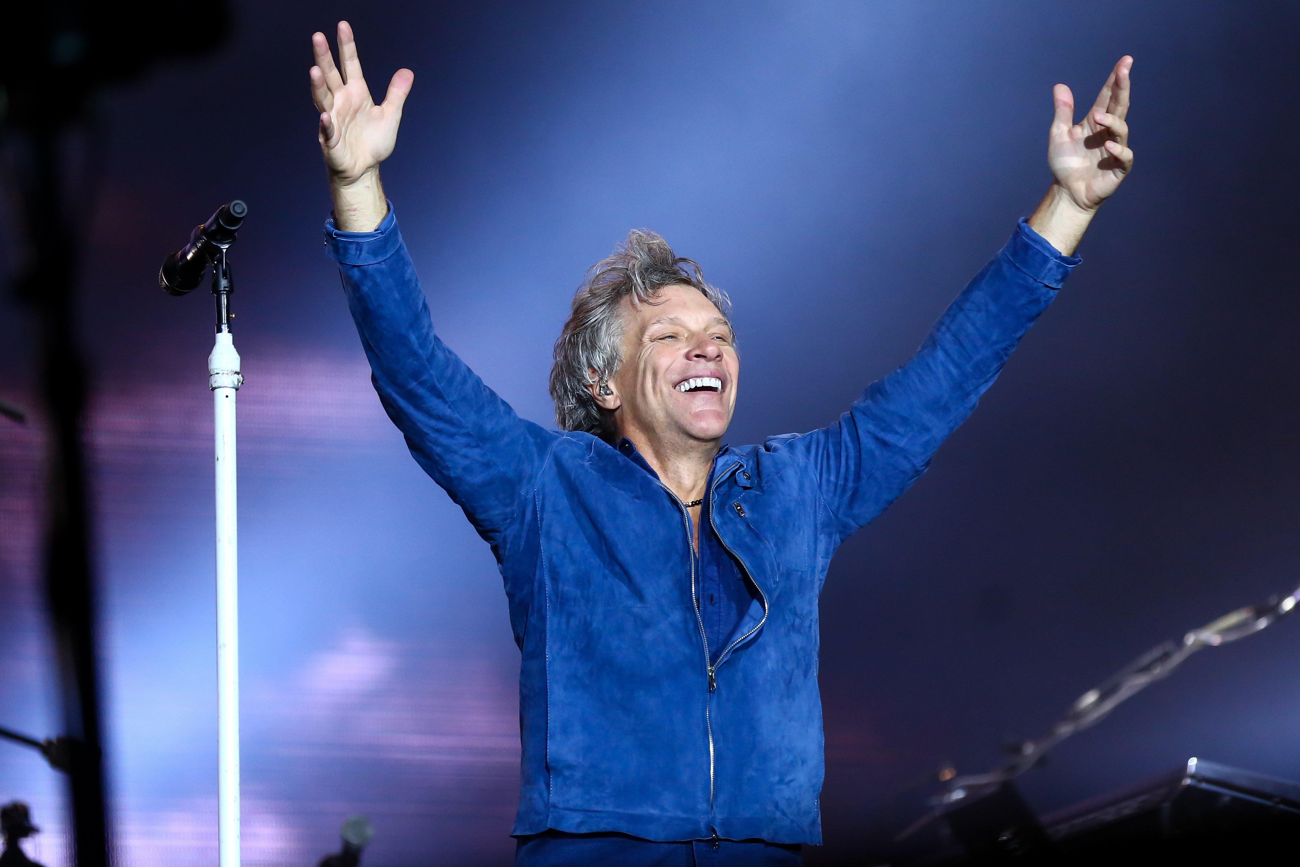 Jon Bon Jovi, the leader of Bon Jovi, soaks in the applause during a Sept. 22 concert in Brazil.
