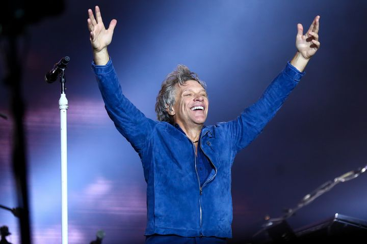 Jon Bon Jovi, the leader of Bon Jovi, soaks in the applause during a Sept. 22 concert in Brazil.