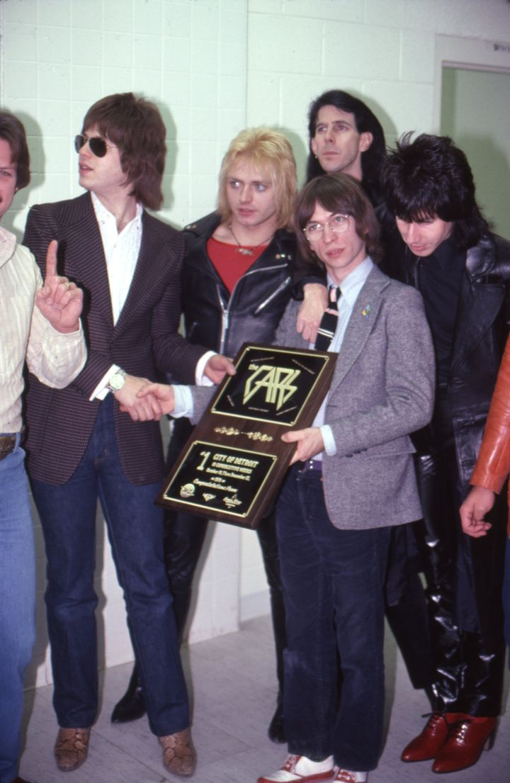 The Cars celebrate a No. 1 hit in 1979.