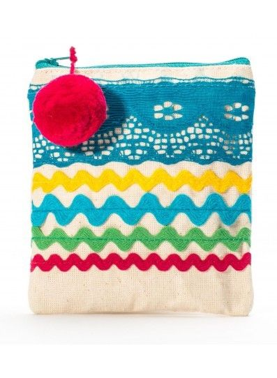 """The perfect <a rel=""""nofollow"""" href=""""https://www.tothemarket.com/pom-pom-pouch-in-blue.html"""" target=""""_blank"""">zip bag</a> to et"""