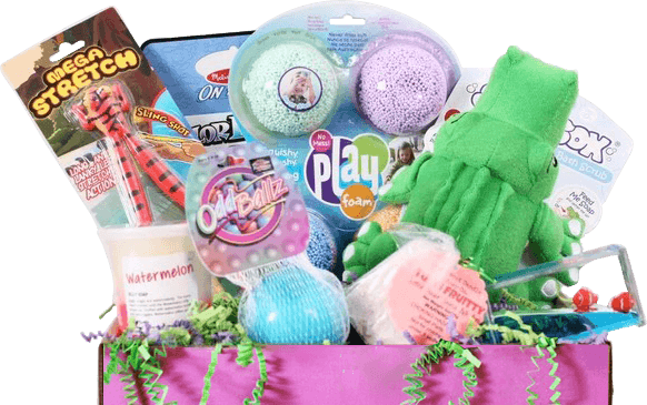 Sensory TheraPLAY Boxes include products recommended by parents and therapists. The mom behind the subscription service is also an occupational therapist.