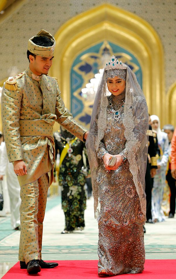 Brunei's Princess Hajah Hafizah Sururul Bolkiah wore a stunning traditional Brunei gown, which was covered in intricate beadi