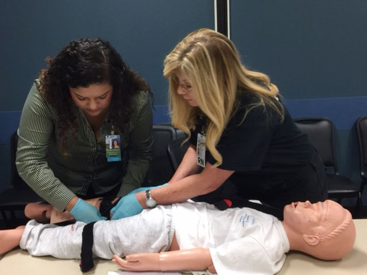"""A """"Stop The Bleed"""" class at Parkland Memorial Hospital in Dallas, Texas."""