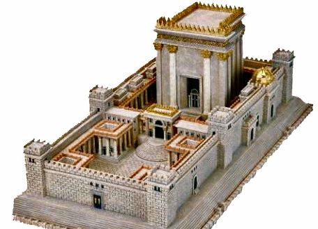 An artistic rendition of Solomon's temple destroyed first by Babylonians and then again by the Romans. Certain Jews and Chris