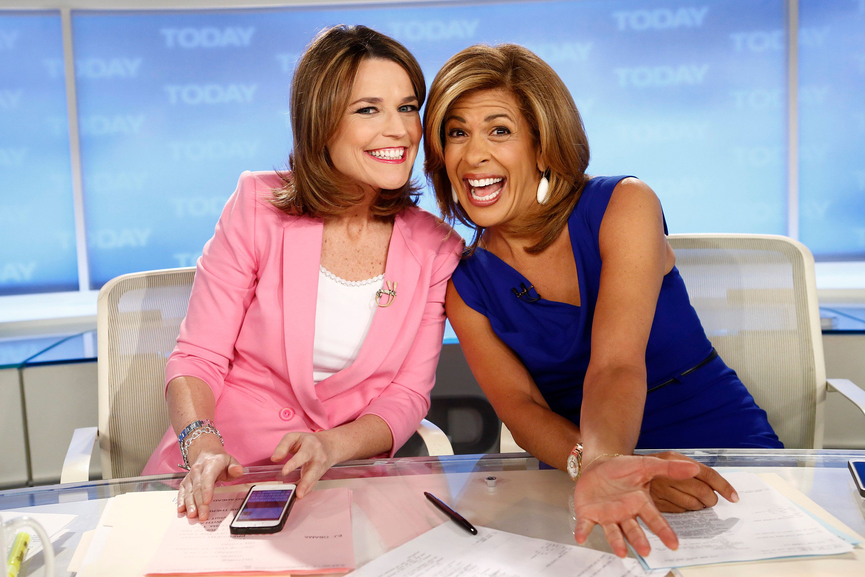 TODAY -- Pictured: (l-r) NBC News' Savannah Guthrie and Hoda Kotb appear on NBC News' 'Today' show on March 20, 2013 -- (Photo by: Peter Kramer/NBC/NBC NewsWire via Getty Images)