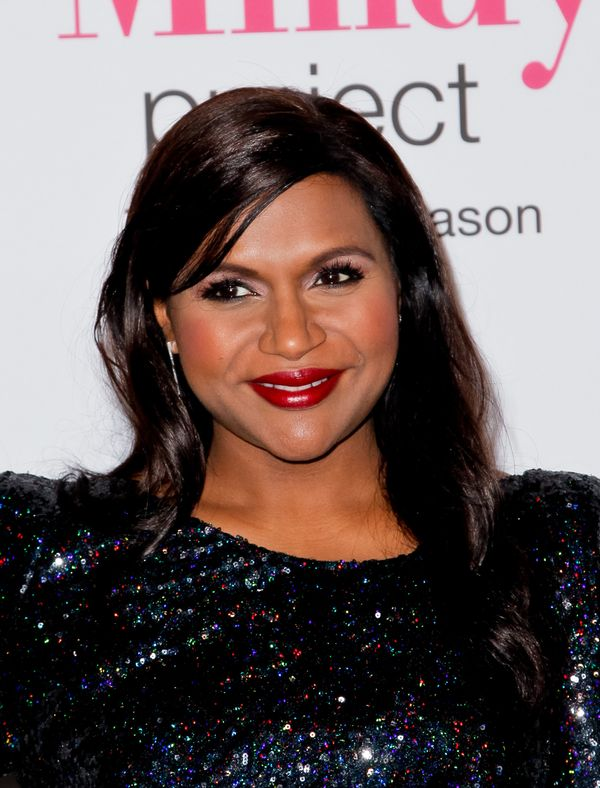Mindy Kaling makes a solid case for the classic red lip, which again is perfect for the holidays. We're also loving her rosy