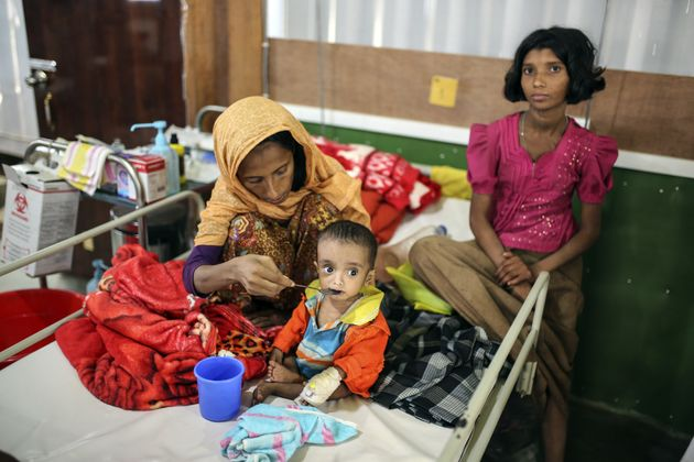 Rohingya refugees at a UN-supported