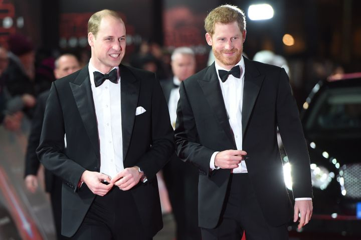 Price William and Prince Harry arriveat Royal Albert Hall onTuesday.