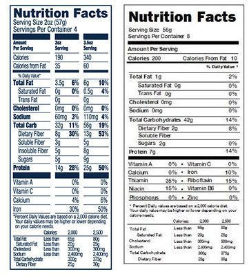 A nutrition label of Banza on the left and traditional pasta on the