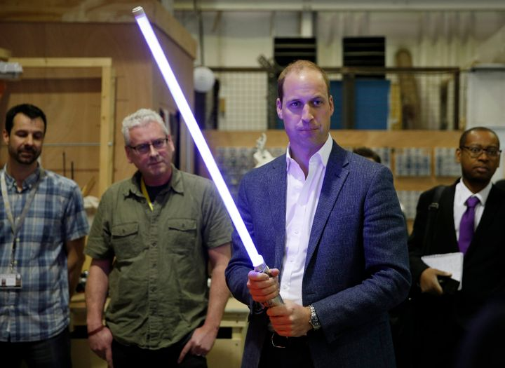 "Prince William during a visit to the ""Star Wars"" film set on April 19, 2016."