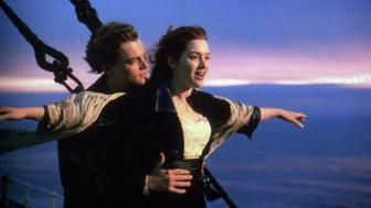 "ATTENTION - WE DO NOT HAVE ARCHIVE RIGHTS UNDATED PUBLICITY PHOTO - Actress Kate Winslet, shown in a scene from ""Titanic"" with actor Leonard DiCaprio, has been nominated by the Academy of Motion Picture Arts and Sciences for the Best Actress Oscar February 10. ""Titanic"" was also nominated as the year's best picture.  OSCARS"