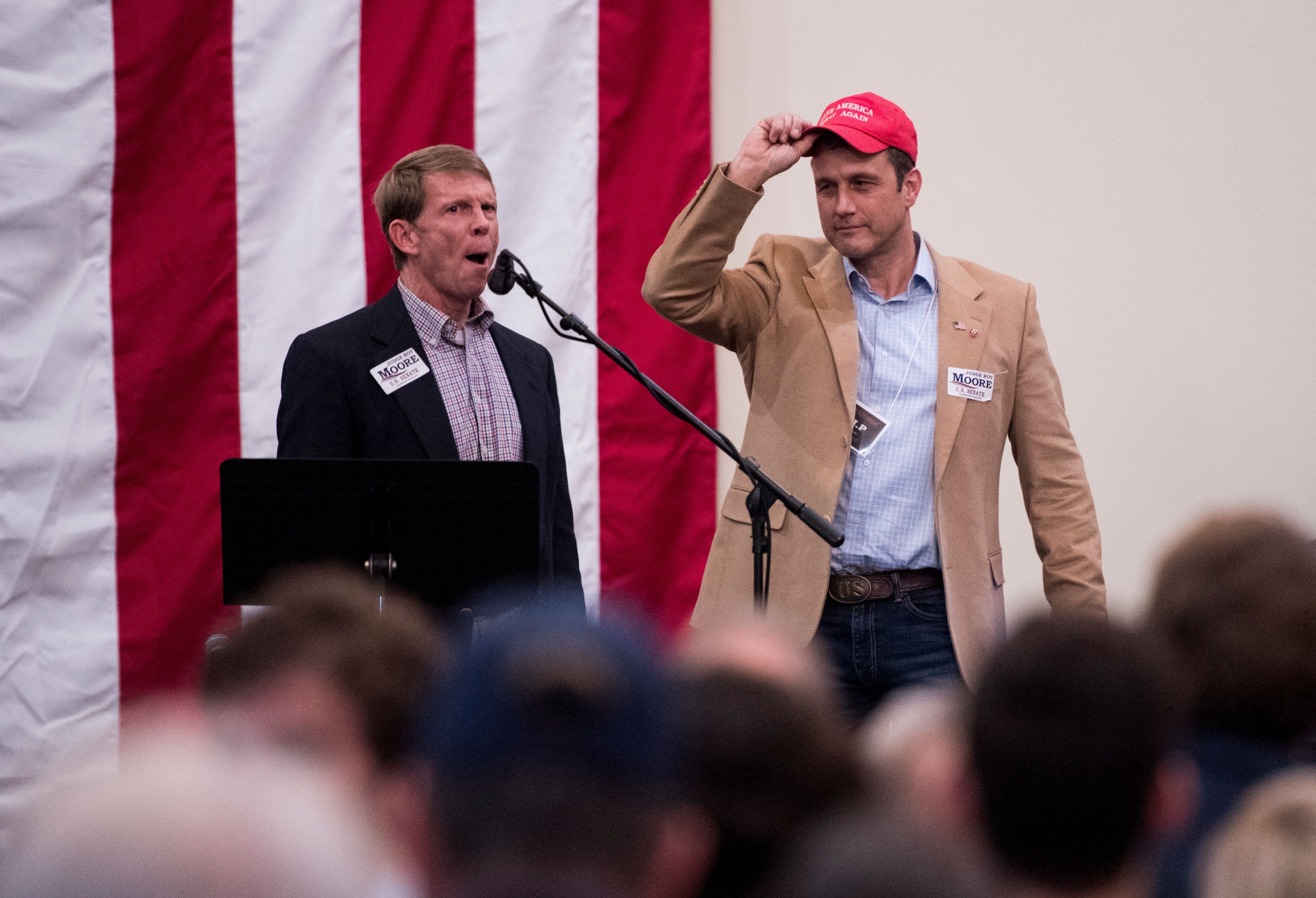 UNITED STATES - DECEMBER 11: Paul Nehlen, right, primary challenger to Speaker of the House Paul Ryan, R-Wisc., is introduced on stage during the  'Drain the Swamp' Roy Moore campaign rally in Midland City, Ala., on Monday, Dec. 11, 2017. (Photo By Bill Clark/CQ Roll Call)