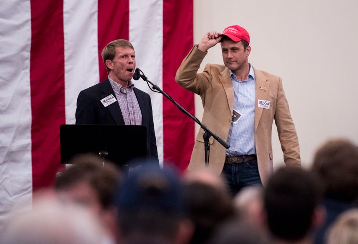 "Paul Nehlen, right, is introduced at a ""Drain the Swamp"" Roy Moore campaign event in Midland City, Alabama, on Mond"