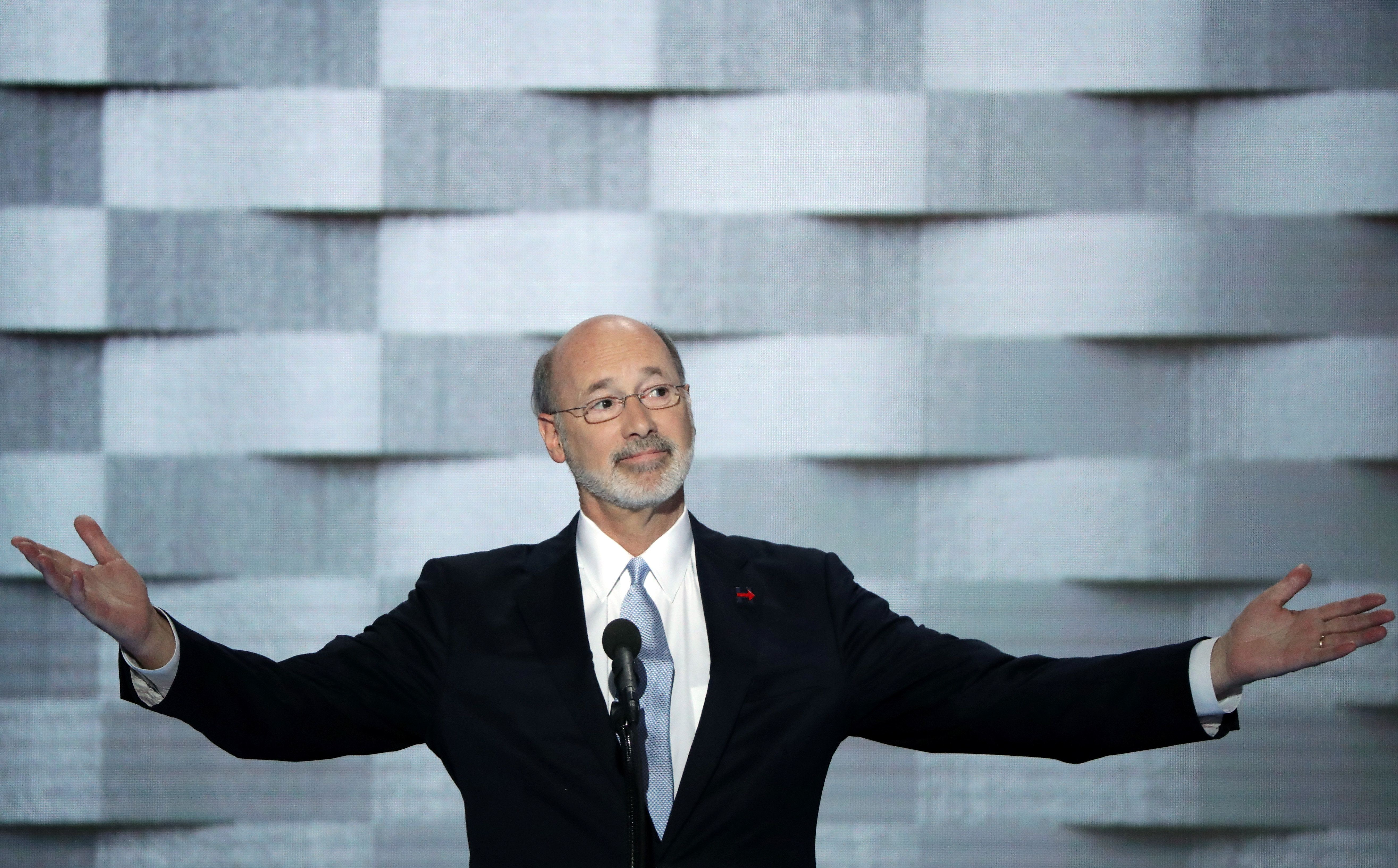 PHILADELPHIA, PA - JULY 28: Pennsylvania Governor Tom Wolf delivers remarks on the fourth day of the Democratic National Convention at the Wells Fargo Center, July 28, 2016 in Philadelphia, Pennsylvania. Democratic presidential candidate Hillary Clinton received the number of votes needed to secure the party's nomination. An estimated 50,000 people are expected in Philadelphia, including hundreds of protesters and members of the media. The four-day Democratic National Convention kicked off July 25. (Photo by Alex Wong/Getty Images)