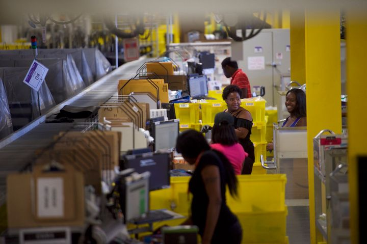Workers at the Amazon fulfillment center in Robbinsville, New Jersey, Aug. 1, 2017.