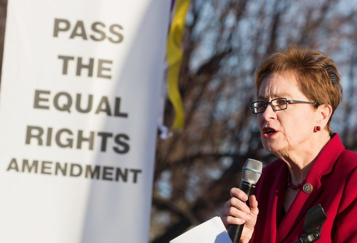 Rep. Marcy Kaptur speaks at the Women Workers Rising Rally on March 8, 2017, in Washington.