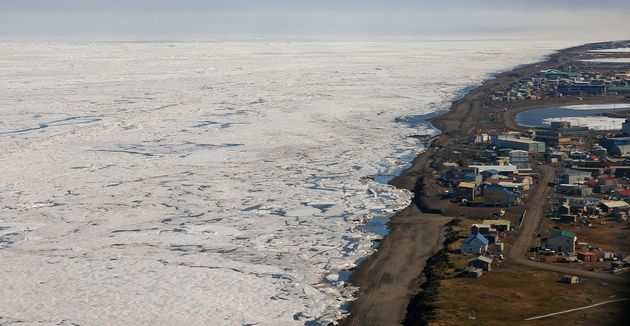 An aerial view of the arctic ice from above Barrow, Alaska, is seen in this undated Getty file photo....