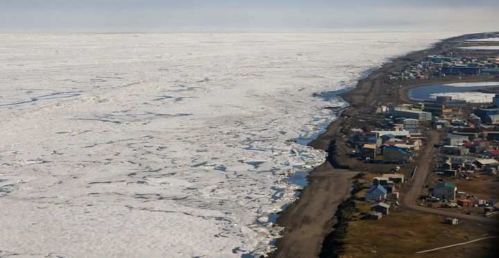 An aerial view of the arctic ice from above Barrow, Alaska, is seen in this undated Getty file photo. The ice has retreated d