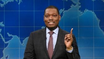 SATURDAY NIGHT LIVE: WEEKEND UPDATE -- Episode 103 -- Pictured: (l-r) Colin Jost and Michael Che at the Update Desk on August 24, 2017 -- (Photo by: Rosalind O'Connor/NBC/NBCU Photo Bank via Getty Images)