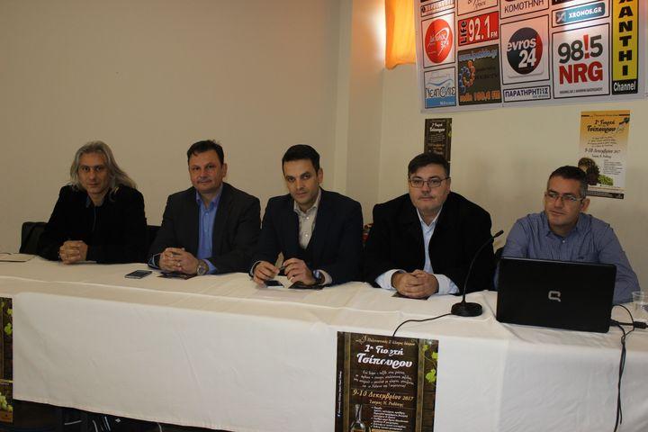 Οι ομιλητές της ημερίδας με θέμα την άμπελο (από δεξιά προς αριστερά): Δρ. Σταύρος Παυλίδης, Κωνσταντίνος Αραμπατζής, Γρηγόρης Τζενετίδης, Νικόλαος Κολάτσος και Ιωάννης Αμαξόπουλος
