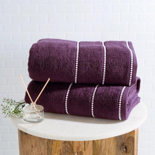 """Get the cotton-towel set <a href=""""https://www.pier1.com/purple-%26-white-luxury-cotton-towel-set-of-2/3489780.html"""" target=""""_"""