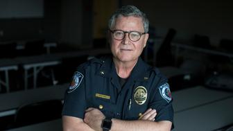 SEGUIN, TEXAS - December 6, 2017: Deputy Chief of the Seguin Police Department Bruce Ure happened to be in Las Vegas during the mass shooting. He credits his training as a police officer and as an EMT for being able to react during a crisis and apply a tourniquet to a man's leg, which saved the man's life. Credit: Ilana Panich-Linsman for Huffington Post