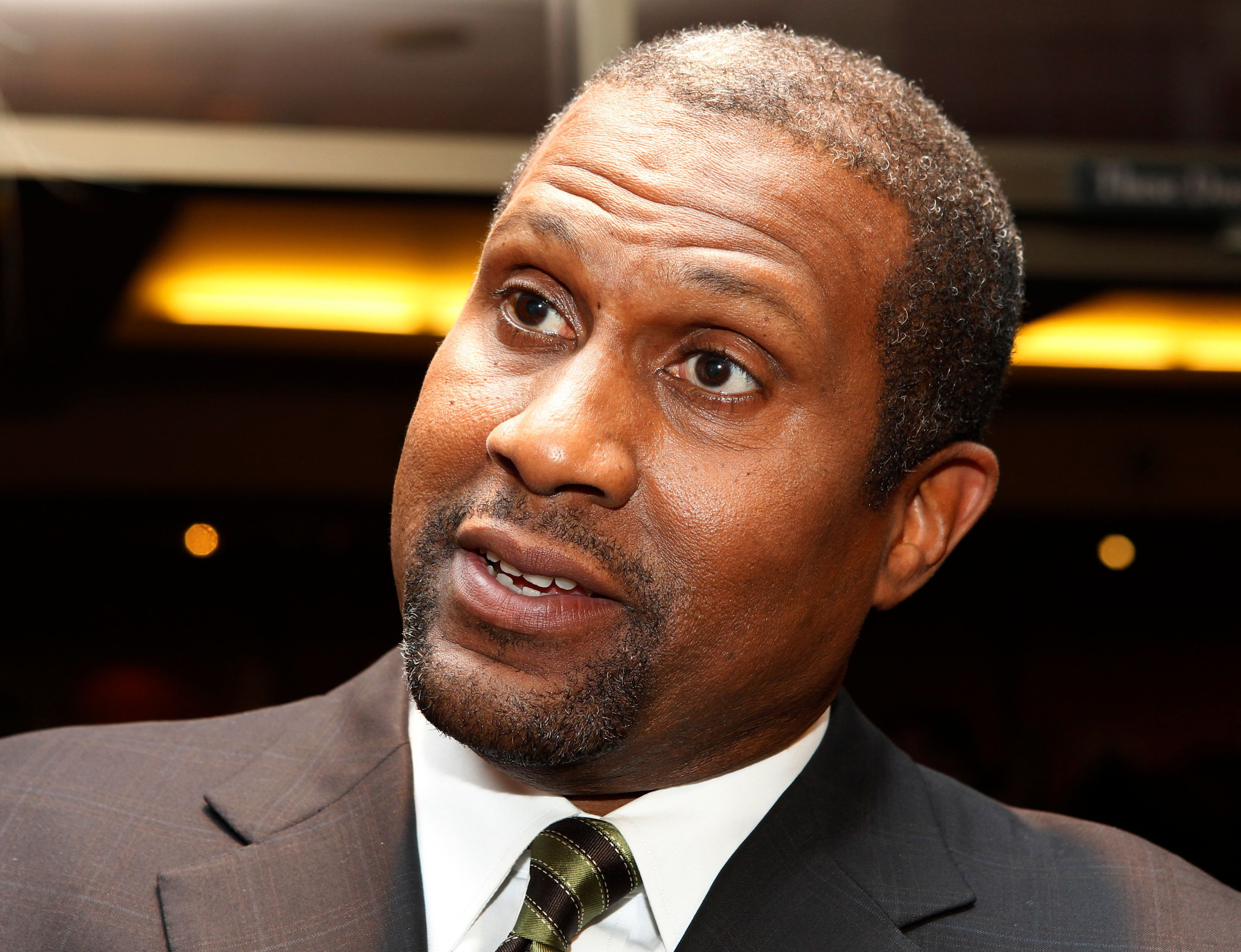 "PBS talk show host Tavis Smiley is interviewed at a screening celebrating the 50th anniversary of the Academy Award winning film ""To Kill A Mockingbird"" at the Academy of Motion Picture Arts & Sciences in Beverly Hills, California April 11, 2012. REUTERS/Fred Prouser  (UNITED STATES - Tags: ENTERTAINMENT HEADSHOT)"