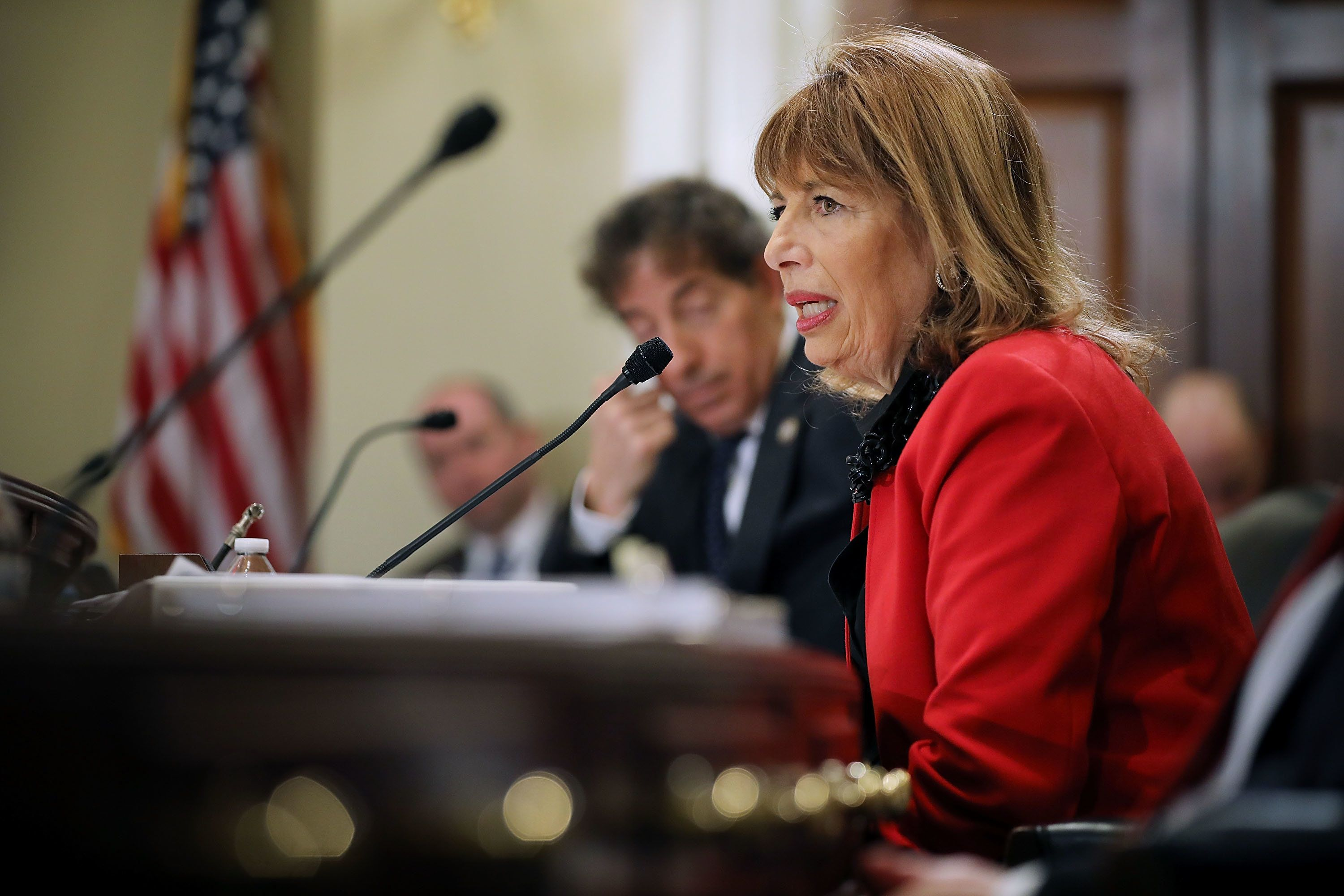 WASHINGTON, DC - DECEMBER 07:  Rep. Jackie Speier (D-CA) delivers opening remarks during a hearing of the House Administration Committee about preventing sexual harassment in Congress in the Longworth House Office Building on Capitol Hill December 7, 2017 in Washington, DC. Committee members and staff tasked with handling sexual harassment cases in Congress agreed that the Congressional Accountability Act of 1995 needs to be revisited and reformed in the wake of recent accusations of harassment and resulting resignations.  (Photo by Chip Somodevilla/Getty Images)