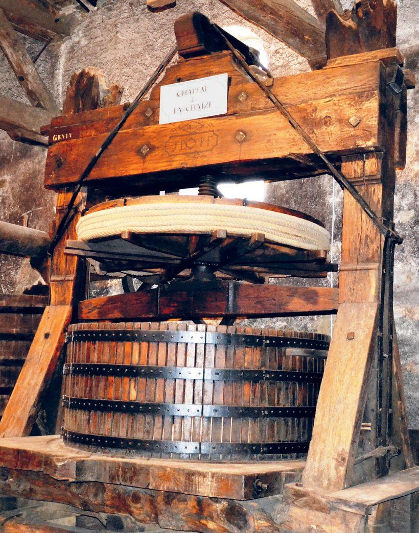 An antique wine press at Chateau de la Chaize in Rhône, France