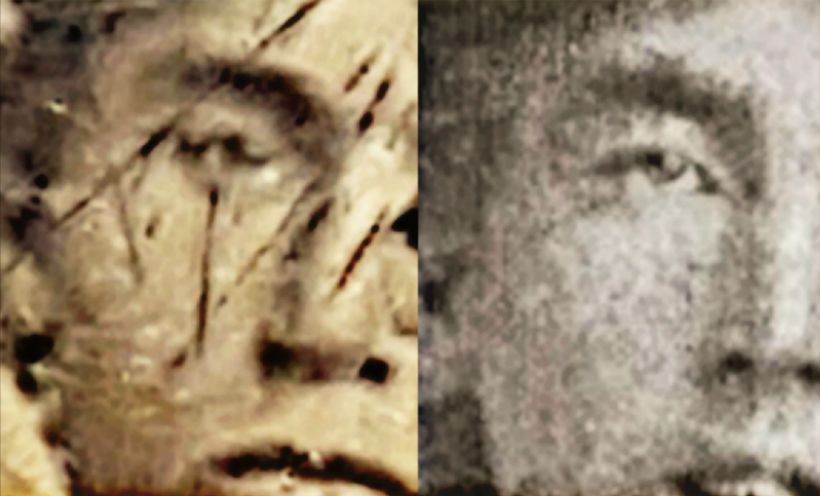Side by side comparisons of the right side  of the faces of Billy the Kid and the young man alleged to be Billy the Kid in th