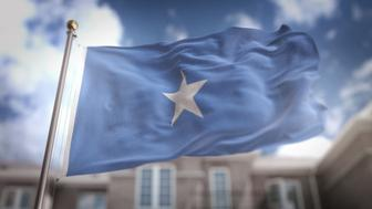 Somalia Flag 3D Rendering on Blue Sky Building Background