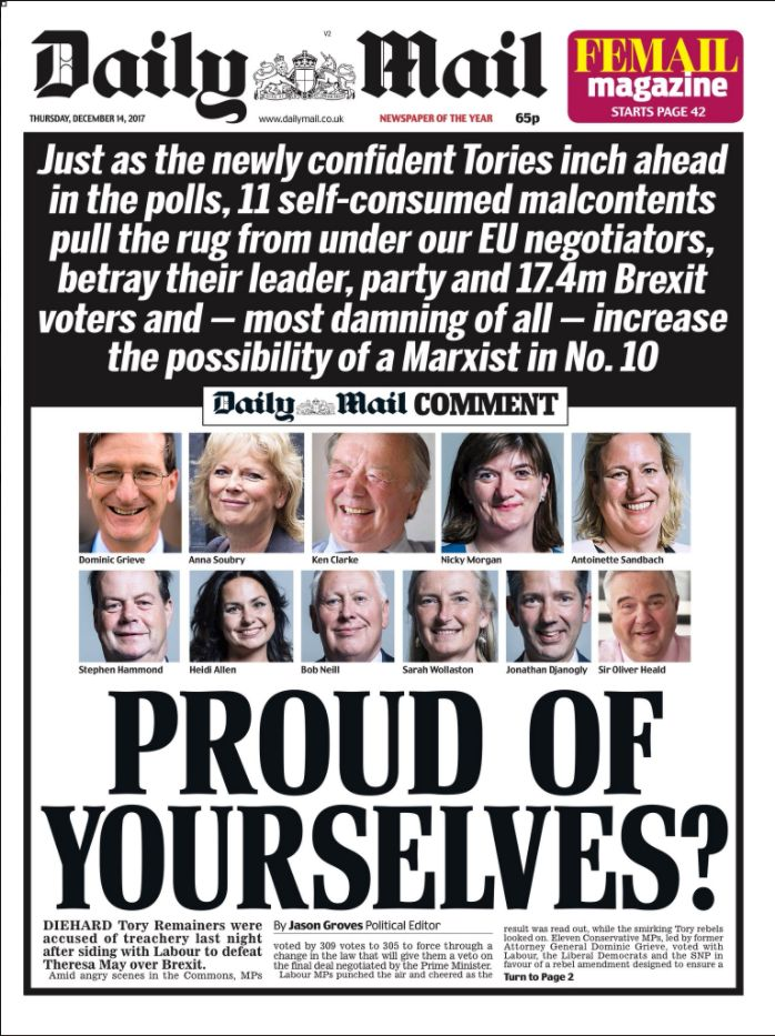 Daily Mail Accused Of Putting MPs At Risk With Front Page Lambasting Tory Brexit