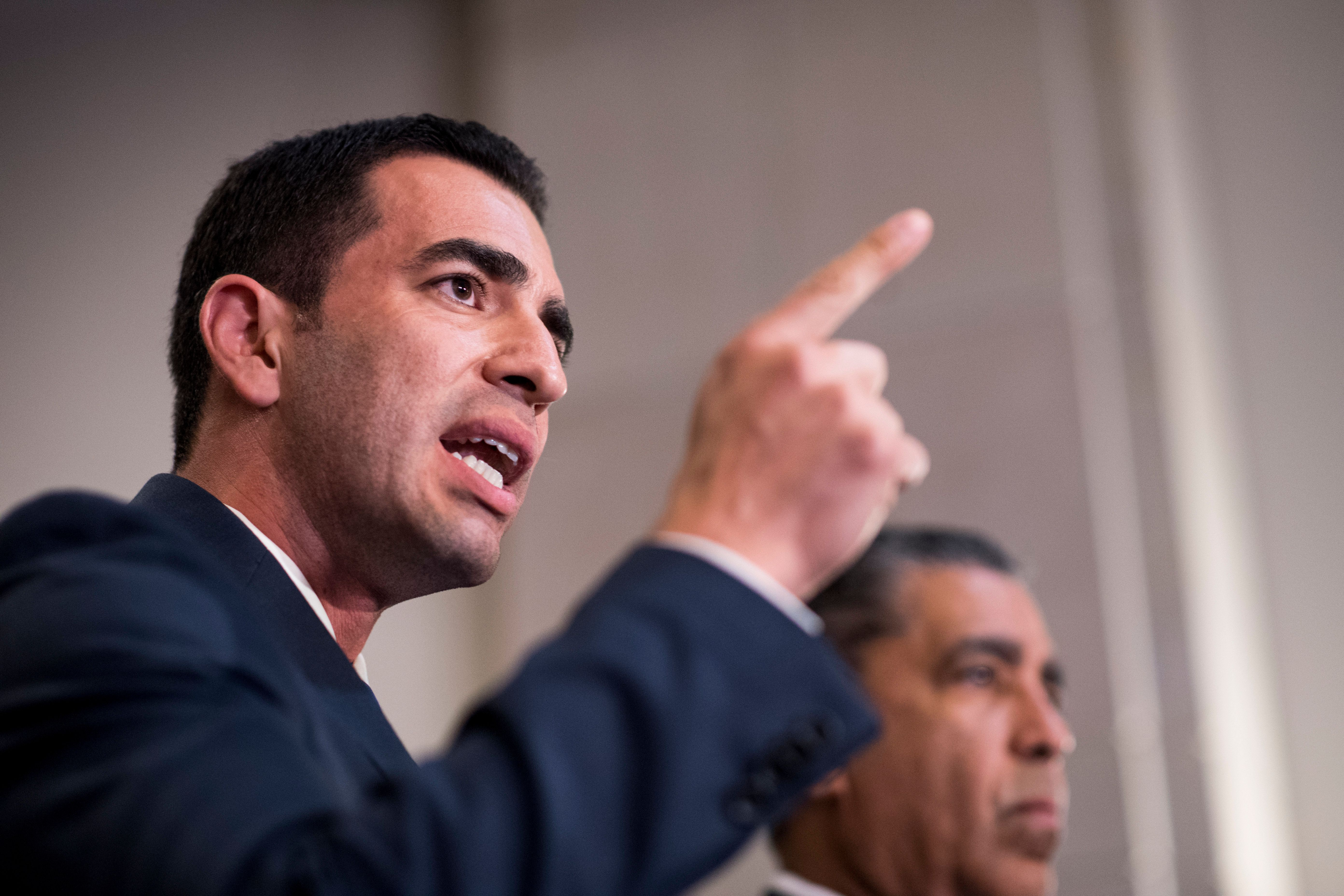 UNITED STATES - SEPTEMBER 5: From left, Rep. Ruben Kihuen, D-Nev.,  and Rep. Adriano Espaillat, D-N.Y., speak in the Capitol with other House Democrats in solidarity with DREAMers and to speak out against President Trumps decision to end DACA on Tuesday, Sept. 5, 2017. Reps. Kihuen and Espaillat are the first formerly undocumented Members to serve in Congress. (Photo By Bill Clark/CQ Roll Call)