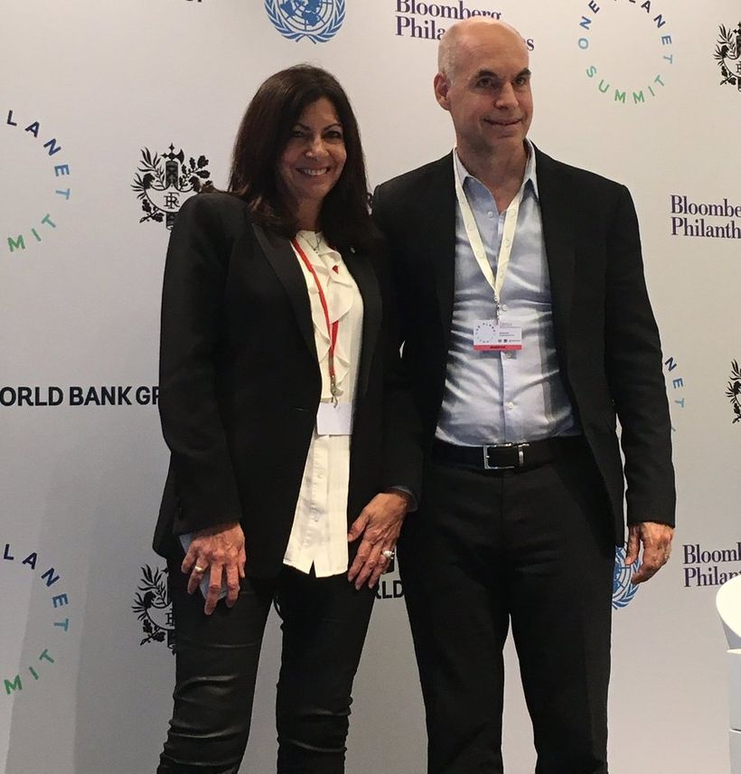 Mayor Hidalgo & Mayor Larreta at the One Planet Summit in Paris, Dec 12th 2017