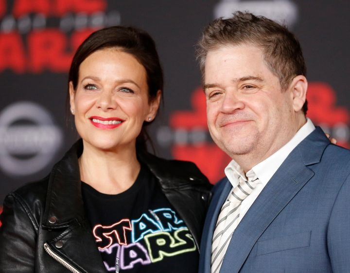 Patton Oswalt and Meredith Salenger, pictured in September, married in November and are now celebrating their first holiday s
