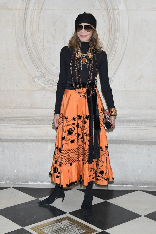 Take a page out of Marisa Berenson's stylebook and pair layered necklaces (or a single necklace with multiple strands) with y