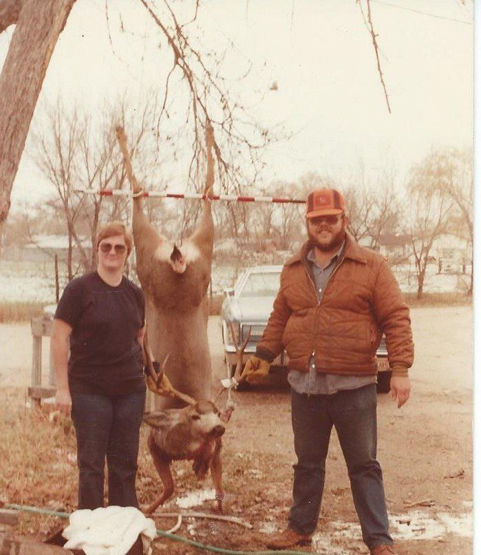 Jim's first deer, early 1980s.