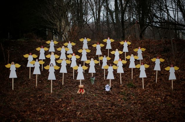 A memorial for the Sandy Hook victims, shown days after the December 2012