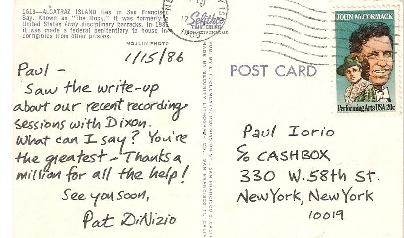 """A postcard Pat DiNizio wrote thanking me for my coverage of the sessions for The Smithereens' """"Especially for You&qu"""