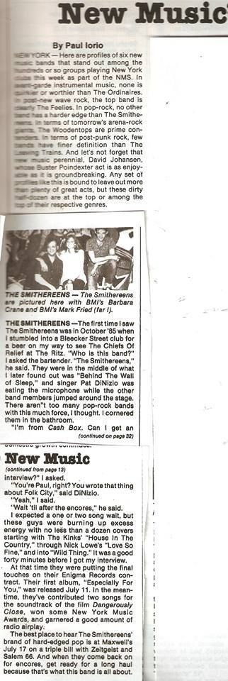 This story about my first encounter with the Smithereens on October 5, 1985, also appeared in an article I wrote for Cash Box