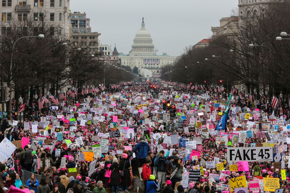Protesters march in Washington, D.C., on Jan. 21, 2017, after Donald Trump's inauguration.