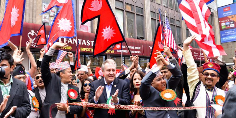 Nepalis in New York during the Nepal Day parade.