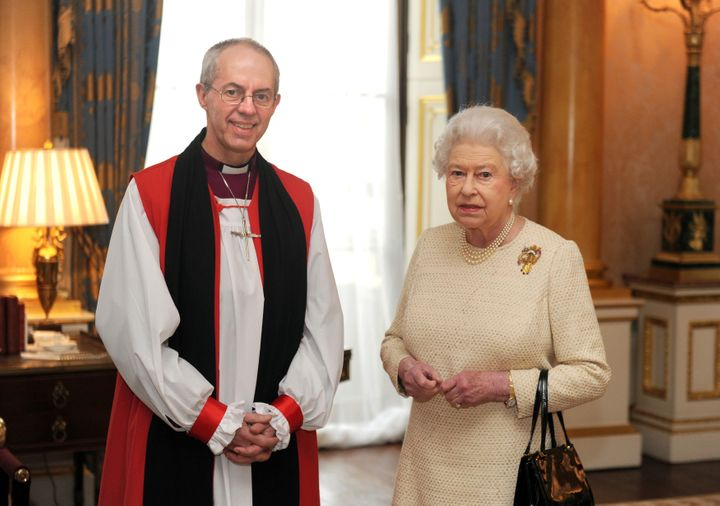 Justin Welby, archbishop of Canterbury, and Queen Elizabeth pose for a photo in February 2013.