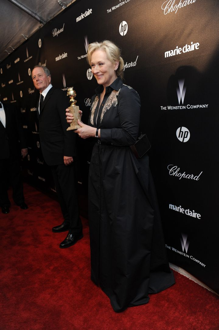 Actress Meryl Streep in black at a Golden Globes party in January 2012.