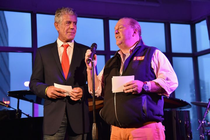 Anthony Bourdain and Mario Batali speak onstage at The Red Supper they cohosted on June 2, 2016.