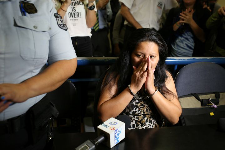 Teodora Vasquez waits in a courtroom in San Salvador on Dec. 8.