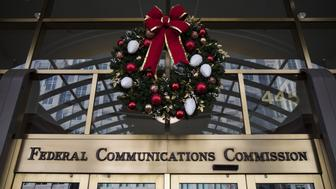 WASHINGTON, USA - December 14: The main entrance of the Federal Communications Commission (FCC) headquarters after the FCC repealed the Obama era regulations protecting Net Neutrality in Washington, USA on December 14, 2017. (Photo by Samuel Corum/Anadolu Agency/Getty Images)