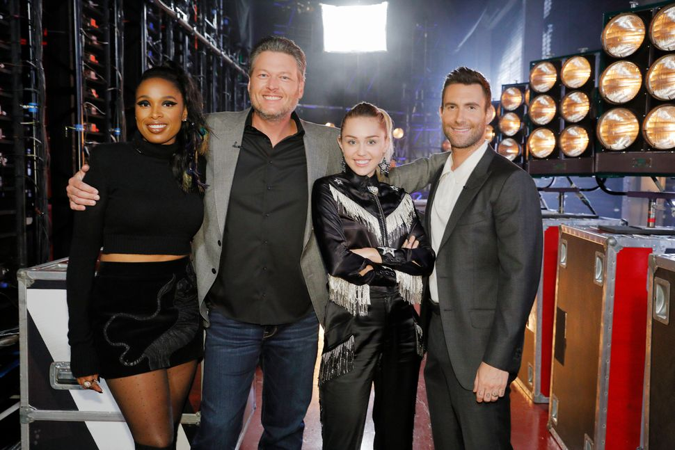 Season 13 coaches Jennifer Hudson, Blake Shelton, Miley Cyrus and Adam Levine. Shelton and Levine have been mentors since sea