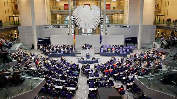 A view of the Bundestag plenary chamber.
