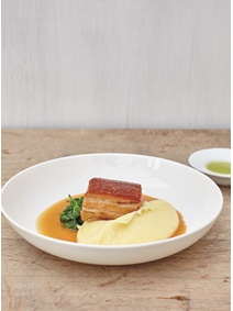 From The Sportsman: Pork Belly with Apple Sauce, Mashed Potatoes and Cabbage